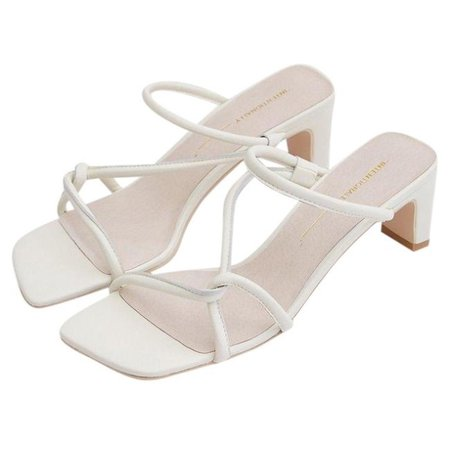Kitten heel white strappy square-toe sandals from... - Depop
