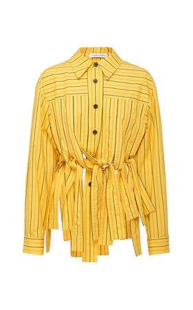 Basket Striped Tie-Accent Cotton Shirt By Christopher Esber | Moda Operandi