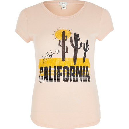 Light pink 'California' fitted T-shirt | River Island