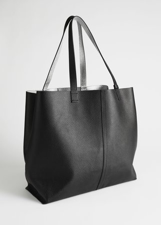 Reversible Metallic Leather Tote Bag - Black, Silver - Totes - & Other Stories