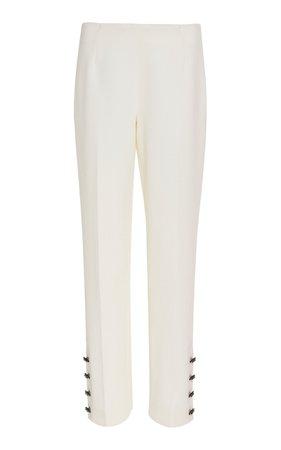 Lela Rose Crystal Button-Embellished Wool-Blend Pants