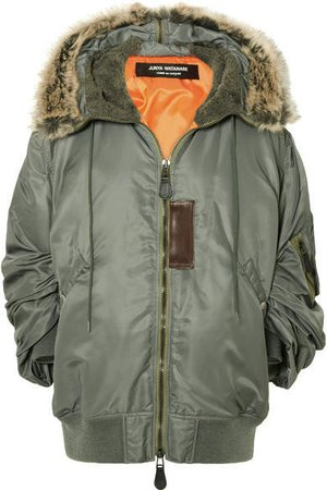 Hooded Faux Fur-trimmed Padded Shell Parka - Gray green