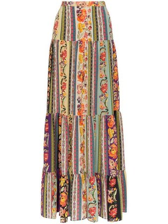 Etro rose print tiered silk maxi skirt $1,160 - Buy Online - Mobile Friendly, Fast Delivery, Price
