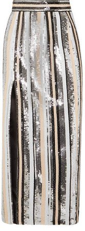 Rasario - Sequined Satin Midi Skirt - Silver