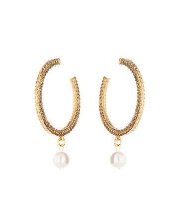 Oscar de la Renta Braided Chain Pearly Drop Hoop Earrings | Neiman Marcus
