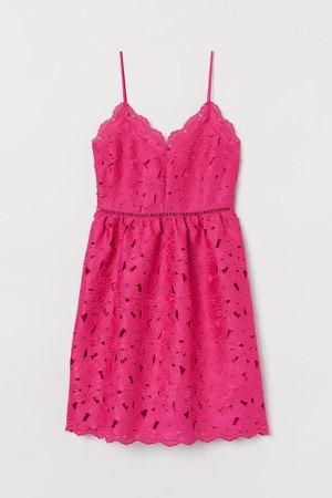 Lace V-neck Dress - Pink