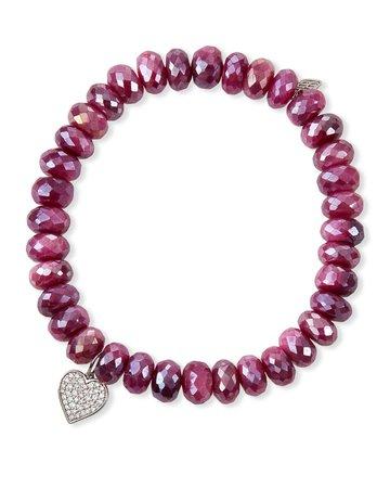 Sydney Evan Red Moonstone and Diamond Heart Bracelet