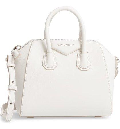 Givenchy 'Mini Antigona' Sugar Leather Satchel White