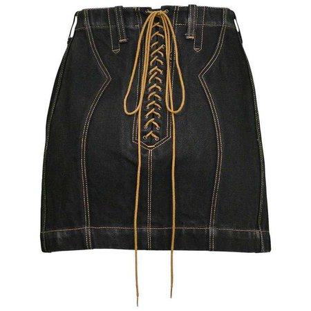 Vintage 1991 Azzedine Alaia Black Denim Lace Up Skirt For Sale at 1stdibs