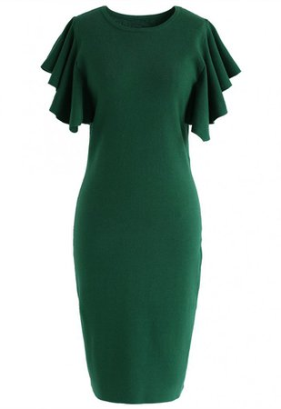 Out of Ordinary Ruffle Shift Knit Dress in Green - Ruffle - DRESS - Retro, Indie and Unique Fashion
