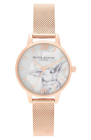 Olivia Burton Winter Wonderland Mesh Strap Watch, 30mm | Nordstrom
