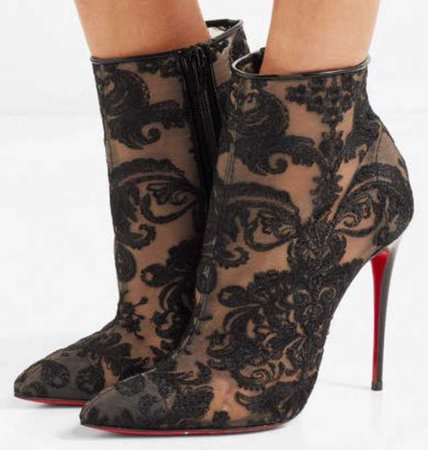 louboutin black lace ankle boots heels heel heeled red bottom bottoms louboutins