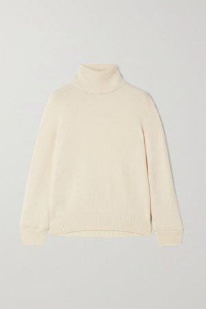 White Ribbed cashmere turtleneck sweater | SAINT LAURENT | NET-A-PORTER