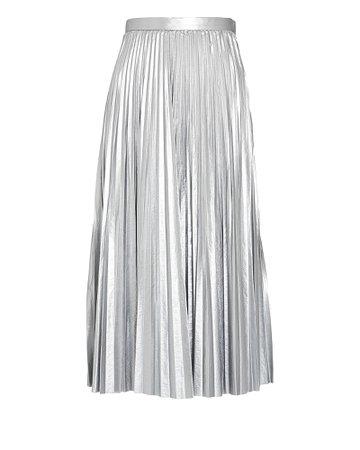 Tibi Pleated Metallic Midi Skirt   INTERMIX®