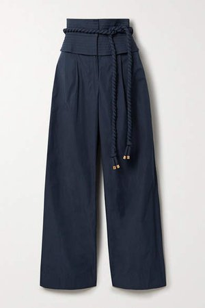 Belted Shell Wide-leg Pants - Navy