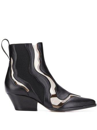 Black Sergio Rossi Pvc Insert Ankle Boots | Farfetch.com