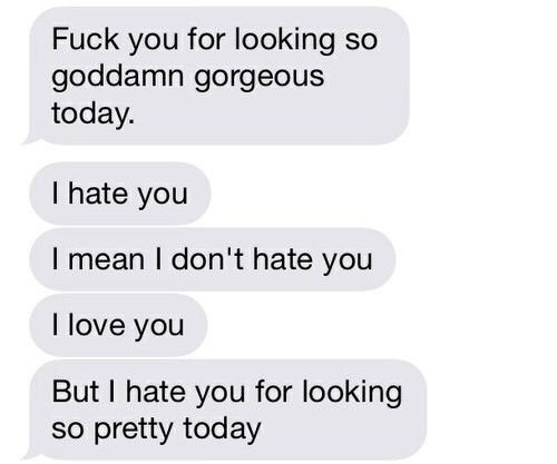 Honestly this is exactly what i mean whenever i say i hate you when you send me selfies. Exactly pn point. | goals | Pinterest | Texts, Messages and Cute texts