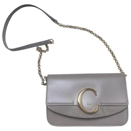 C leather crossbody bag Chloé Grey in Leather - 8724453