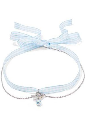 Miu Miu | Gingham cotton, silver-tone, crystal and faux pearl choker | NET-A-PORTER.COM