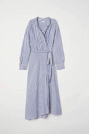 Striped Wrap-front Dress - Blue