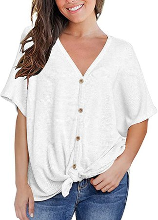MIHOLL Womens Loose Blouse Short Sleeve V Neck Button Down T Shirts Tie Front Knot Casual Tops at Amazon Women's Clothing store