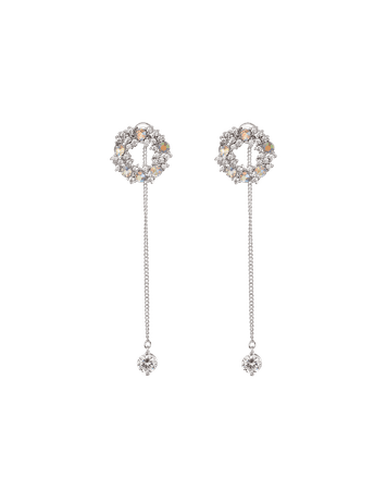 Dangle korean earring silver crystal