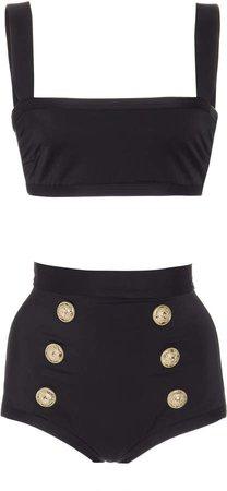 Button-Embellished High-Waisted Bikini