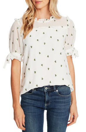 CeCe Floral Embroidery Tie Sleeve Blouse | Nordstrom