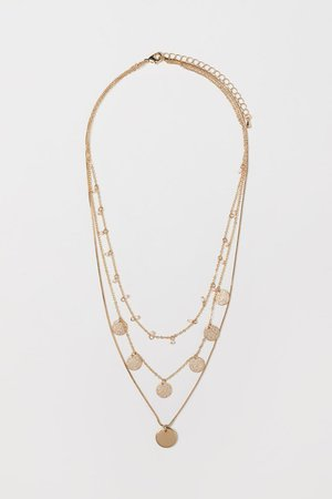 Three-strand necklace - Gold-coloured/Pink beads - | H&M GB