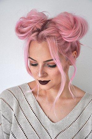 Pink Hair- Space Buns