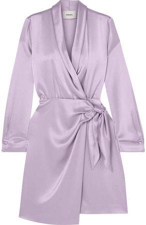 Nanushka Satin Wrap Dress - Lilac