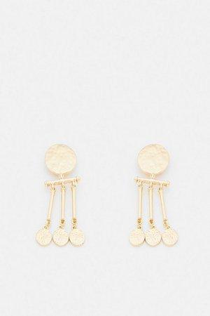 Gold Plated Coin Statement Earrings | Karen Millen