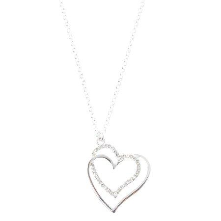 Silver Interlocking Heart Pendant Necklace | Claire's US