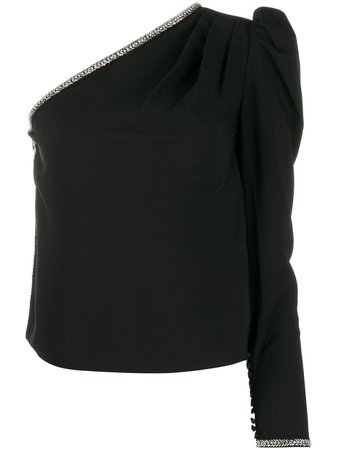Self-Portrait Embellished one-sleeve Top - Farfetch