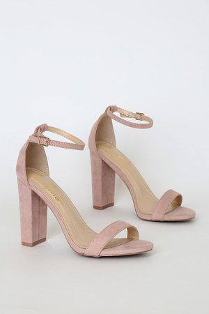 Sexy Blush Suede Heels - Ankle Strap Heels - Blush Heels