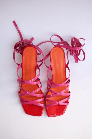 Molly Goddard Patent Leather Strappy Sandal - Pink | Garmentory