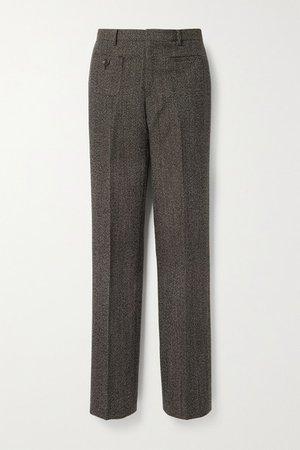 Wool-tweed Straight-leg Pants - Dark brown