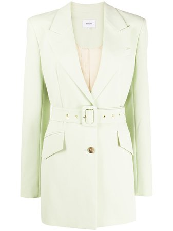 Shop green Nanushka Honor belted blazer with Express Delivery - Farfetch