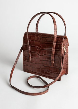 Leather Croc Square Crossbody Bag - Brown - Shoulderbags - & Other Stories