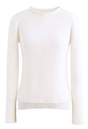 Pearl Neck Ribbed Hi-Lo Knit Sweater in White - Retro, Indie and Unique Fashion