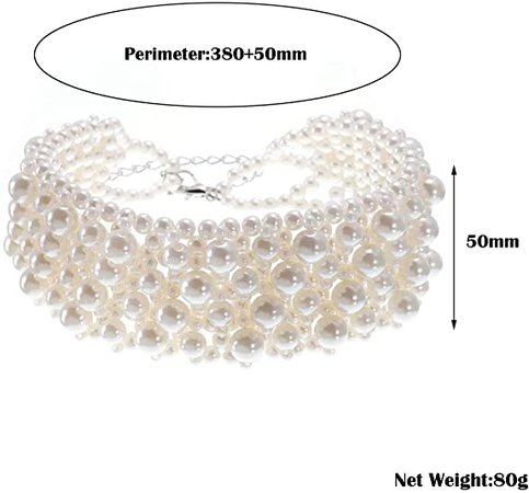 Amazon.com: Fashion Jewelry Multi Strand Simulated Pearl Resin Chain Collar Choker Statement Necklace Costume Jewelry Necklaces for Women&Girls: Clothing