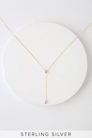 Lovely Gold Necklace - Drop Necklace - Plated Sterling Silver