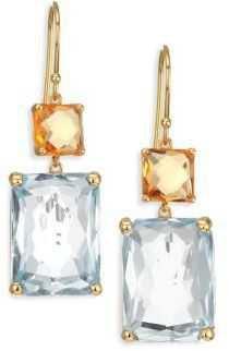 Ippolita Rock Candy Dark Orange Citrine, Rutilated Quartz & 18K Yellow Gold Gelato Rectangular Double-Drop Earrings
