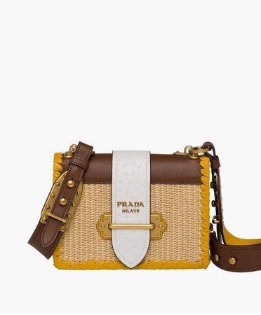 Prada Prada Prada Cahier Straw And Leather Bag