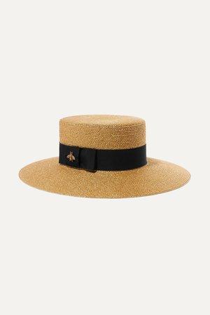 Gold Grosgrain-trimmed glittered straw hat | Gucci | NET-A-PORTER