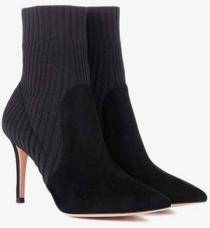gianvito rossi black ankle boots sock heel heels heeled ribbed rib