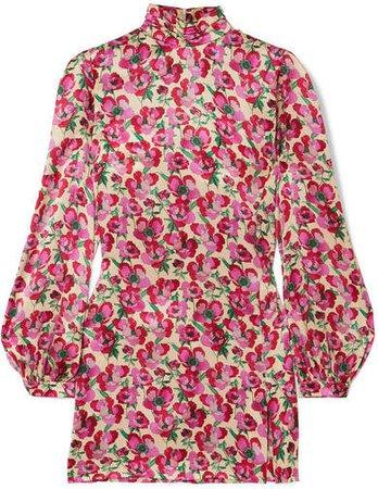 Raquel Diniz - Elle Floral-print Silk-satin Mini Dress - Pink