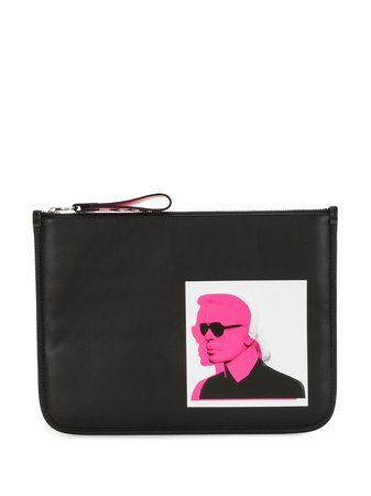 Shop black Karl Lagerfeld logo print make-up bag with Express Delivery - Farfetch