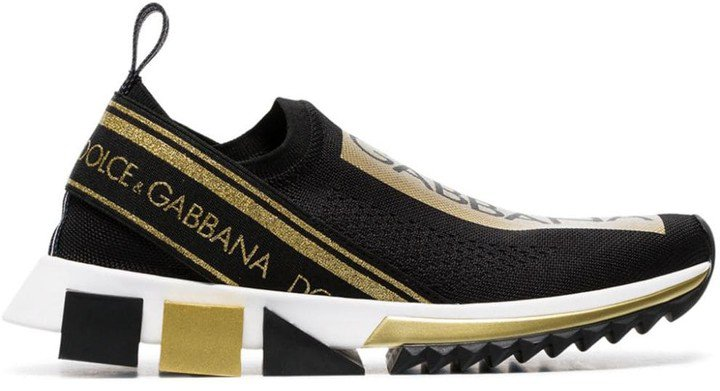 Black And Gold Atletica Stretch Slip-On Sneakers