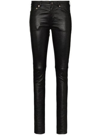 Saint Laurent Leather Skinny Trousers - Farfetch